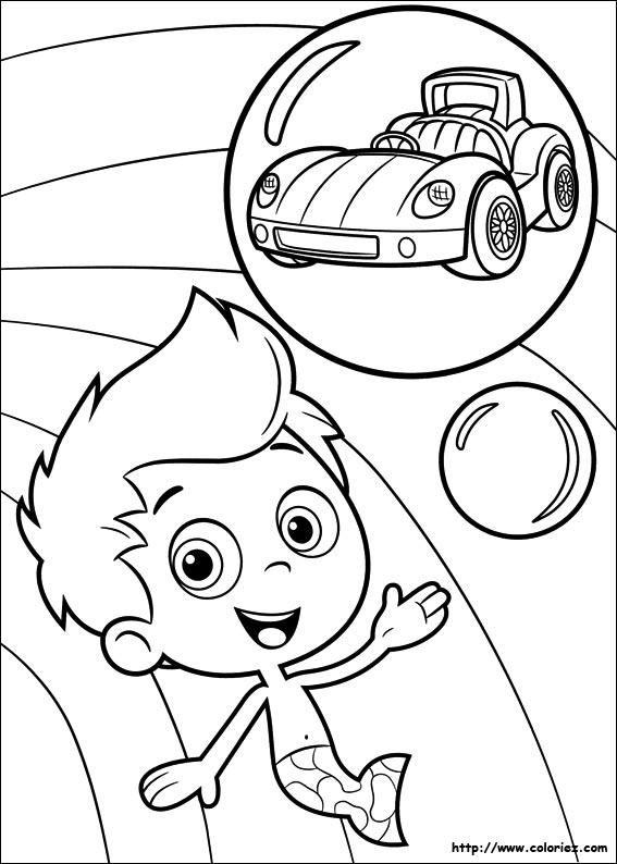 Coloriage la voiture de phil - Jeux bubble guppies ...