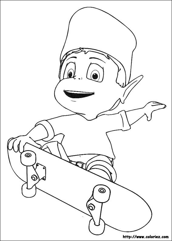 Coloriage adibou fait du skate - Dessin skateboard ...