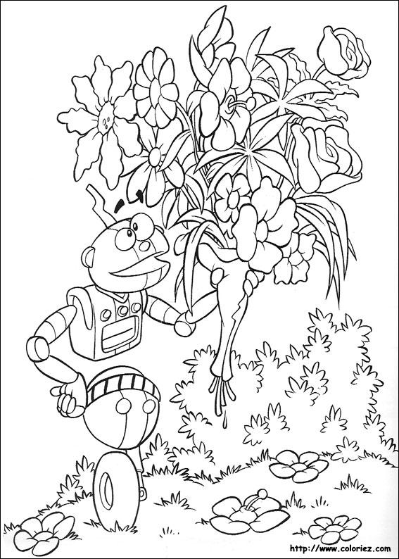 Coloriage robitoc avec un gros bouquet de fleurs for Bouquet de fleurs coloriage