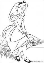 Coloriage d'Alice assise sur un champignon