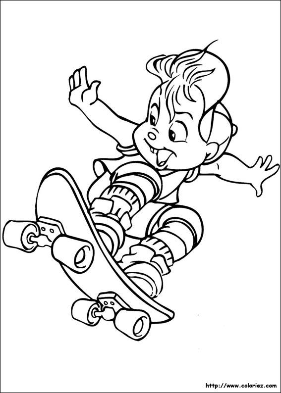 Coloriage Alvin Fait Du Skate