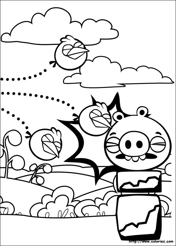 Coloriage dehors les cochons - Angry bird coloriage ...