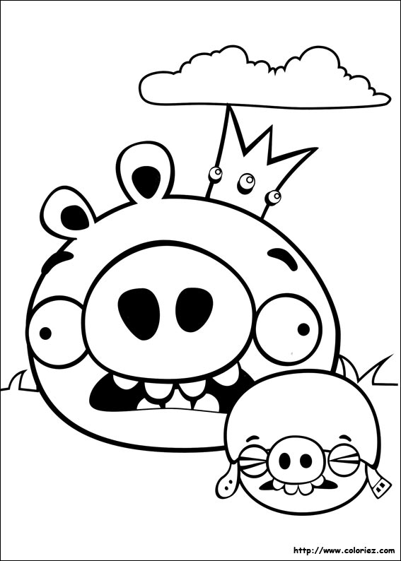 Coloriage cochons peureux - Coloriage angry birds ...