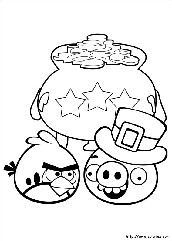 Coloriage cochon d 39 affaires - Angry bird coloriage ...