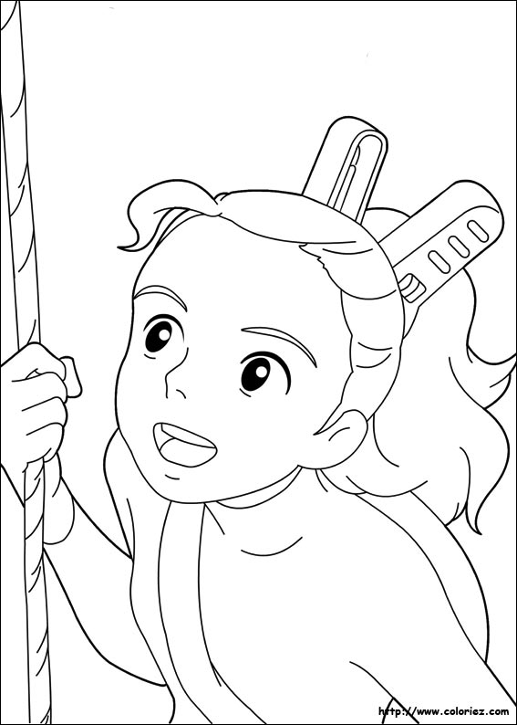 Coloriage coloriage d 39 arrietty accroch e une liane for Ponyo coloring pages