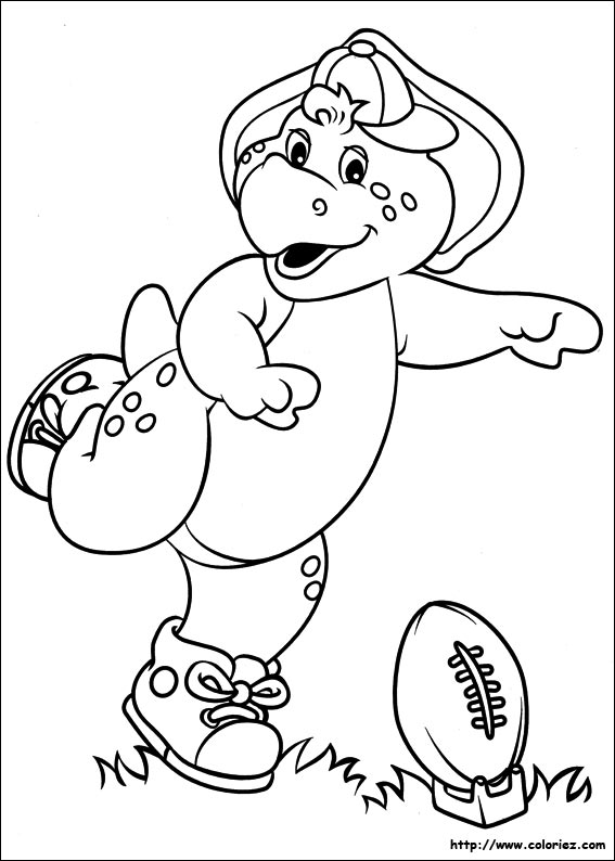 Coloriage Barney Joue Rugby