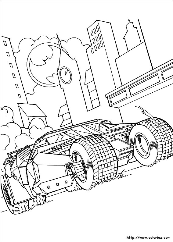Coloriage la batmobile est la voiture de batman - Image batman a colorier ...