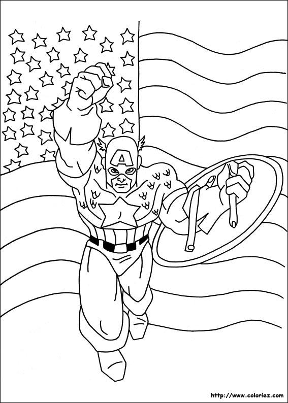 Coloriage sous le drapeau - Captain america coloriage ...