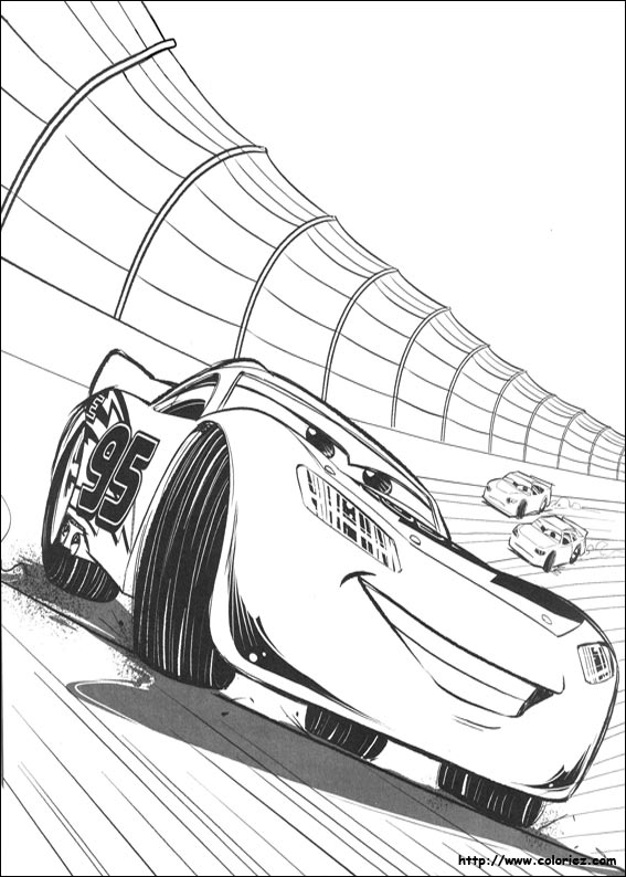 Coloriage flash mcqueen sur le circuit - Coloriage la cars ...