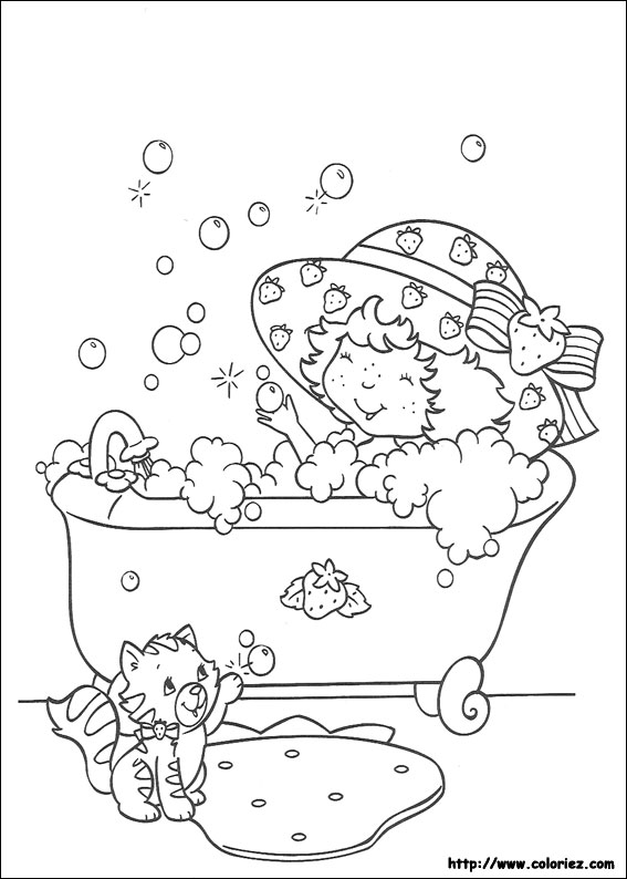 Baño Diario En Ninos:Coloring Strawberry Shortcake Bath