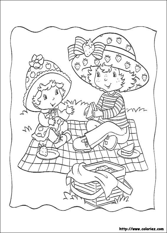 Coloriage le gouter de charlotte et croque pomme - Coloriages charlotte aux fraises ...