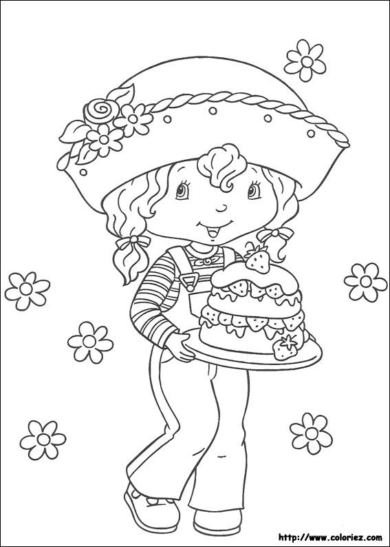 Coloriage coloriage d 39 angelique et le g teau - Coloriages charlotte aux fraises ...