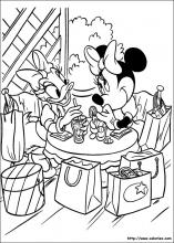 Coloriage de Daisy et minnie au salon de thé