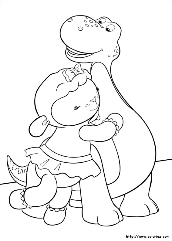 Coloriage caline et le dinosaure - Docteur la peluche coloriage ...