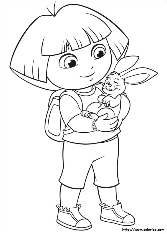 Coloriage dora caline un lapin - Coloriages dora ...
