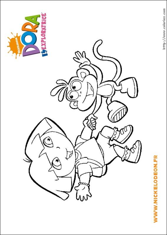 Coloriage dora et son singe babouche - Dessin de dora et babouche ...