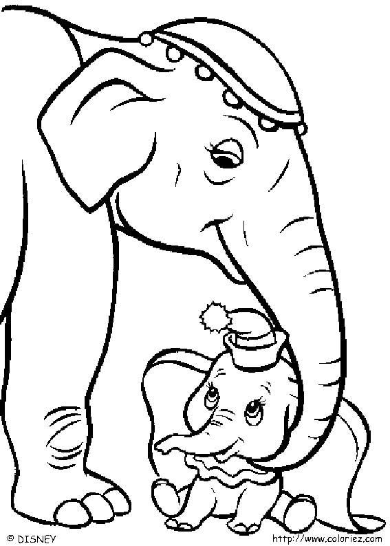 COLORIAGE - Dumbo et sa maman