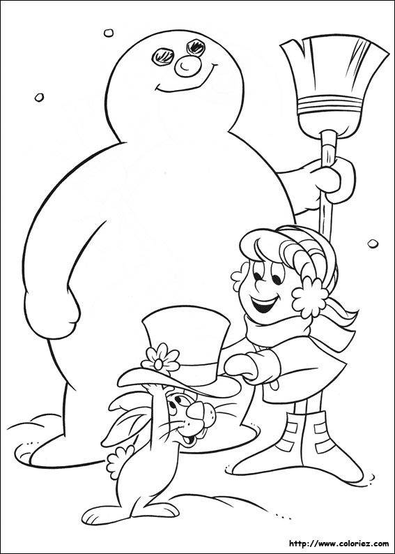 Coloriage karen fait un bonhomme de neige for Frosty the snowman coloring pages