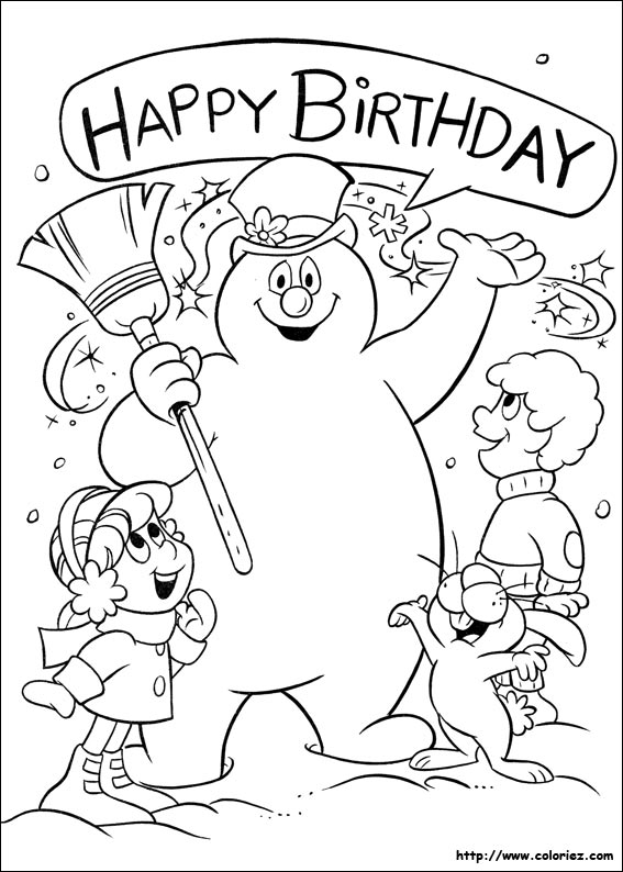 Coloriage joyeux anniversaire for Frosty the snowman coloring pages