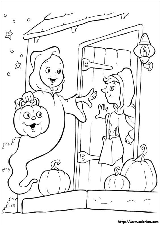 Coloriage la visite du fantome - Coloriage fantome halloween ...