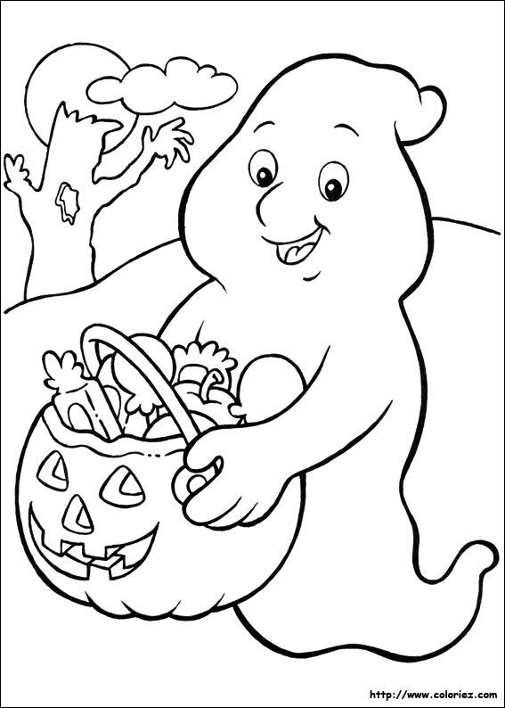 Coloriage fant me collecteur de bonbons - Coloriage fantome halloween ...