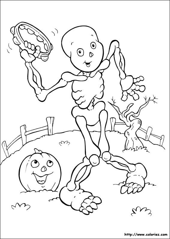 Coloriage un squelette qui danse - Coloriage squelette halloween ...