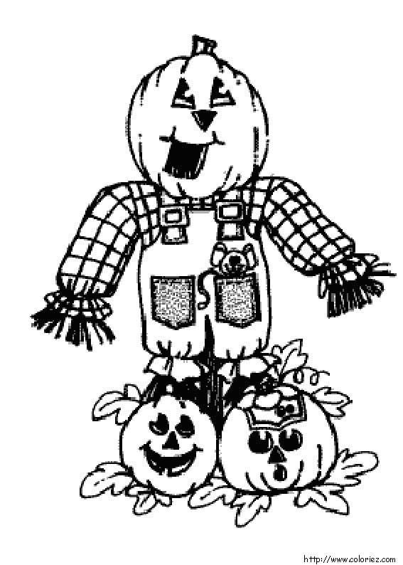 Coloriage l 39 pouvantail - Dessin facile d halloween ...