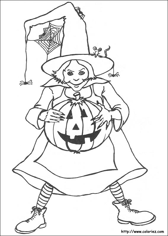 Coloriage m lusine auplafon la sorci re - Dessin sorciere halloween ...