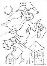 Coloriage de la sorcière et son balai
