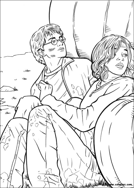 Coloriage coloriage harry et hermione se cachent - Coloriage harry potter ...