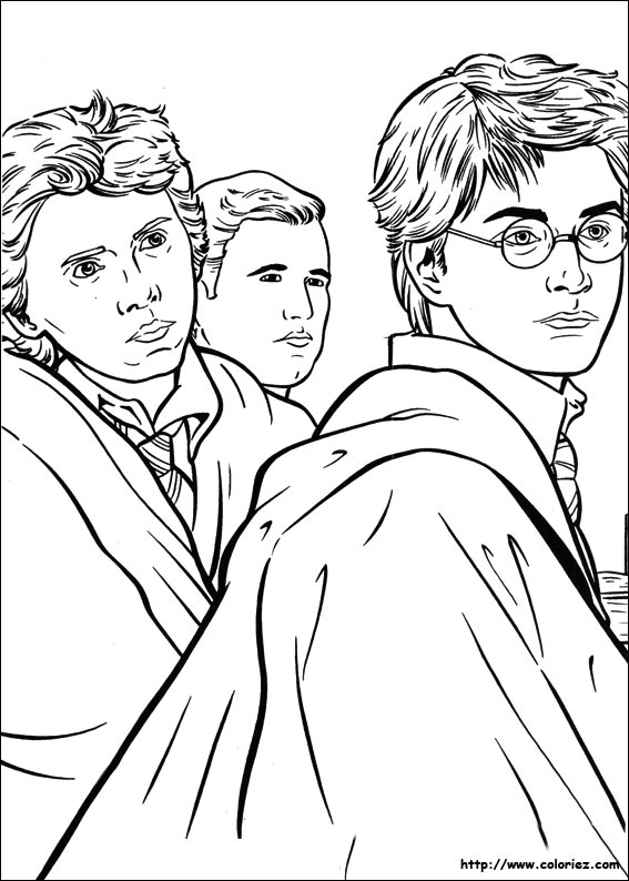 Coloriage coloriage de harry et ses amis - Coloriage harry potter ...