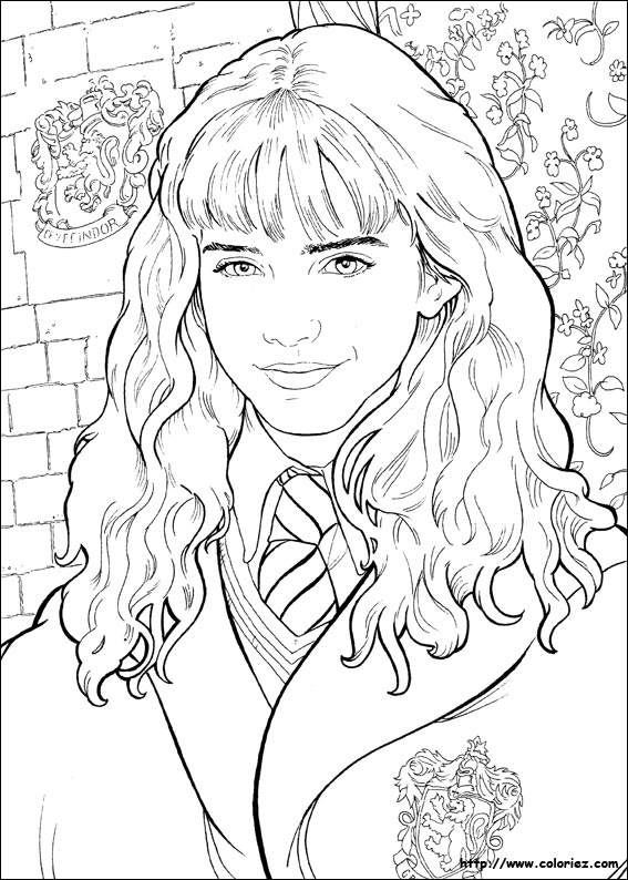 Coloriage portrait d 39 hermione - Coloriage harry potter ...