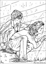 Coloriage Harry et Hermione guettent