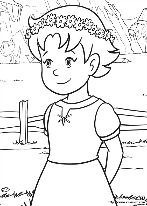 Coloriage heidi princesse de la montagne - Coloriage heidi ...