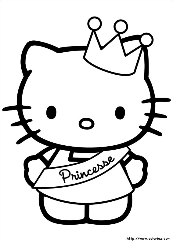 Coloriage kitty princesse for Hello kitty princess coloring page