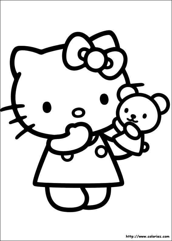Coloriage kitty et sa marionnette - Coloriage hello kitty et mimi ...