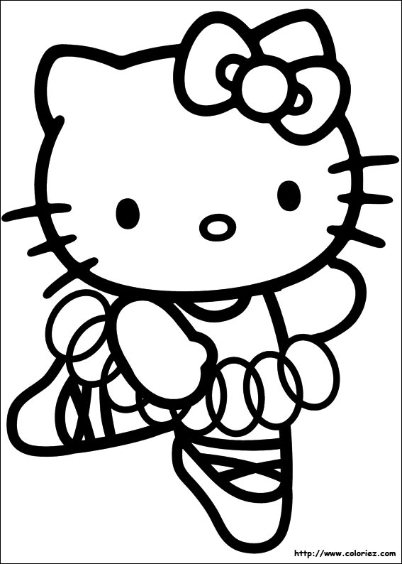 Coloriage kitty danseuse toile - Coloriage hello kitty ...