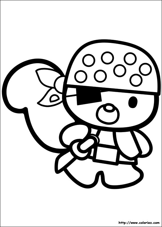 Coloriage rory petit pirate - Coloriage hello kitty tete ...