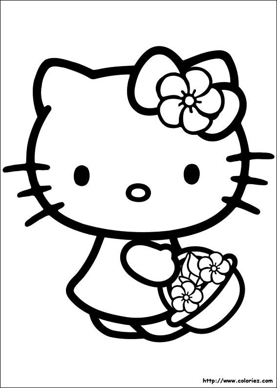 Coloriage kitty cueillette des fleurs - Coloriage hello kitty fleurs ...
