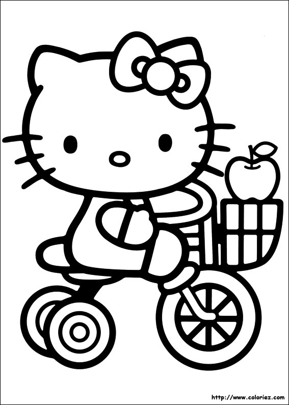 Free coloring pages of hallo kitty zum ausmalen - Coloriage hello kitty ...