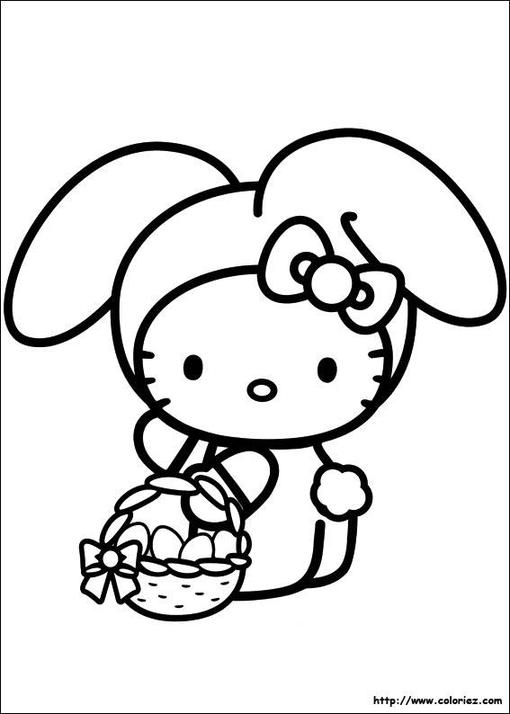 Coloriage kitty lapin de p cques - Coloriage hello kitty printemps ...