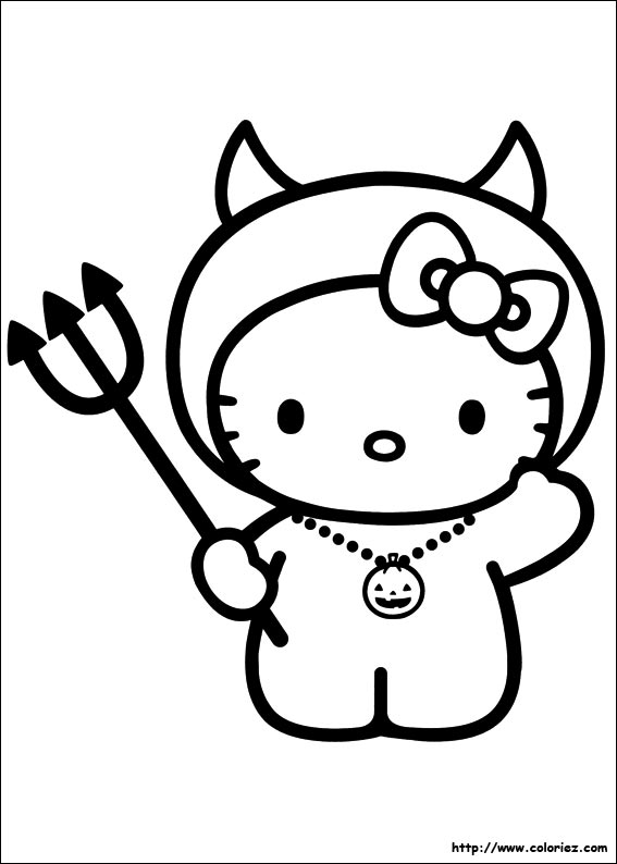 Coloriage kitty halloween - Coloriage hello kitty ...