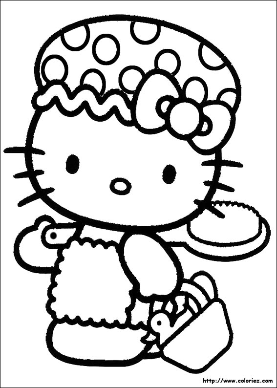 Coloriage kitty va au bain - Coloriage hello kitty ...