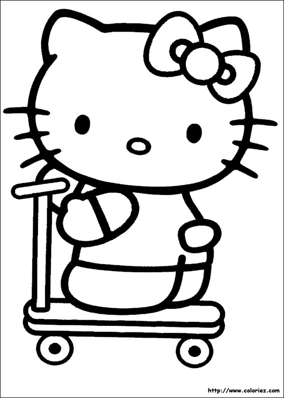 Coloriage kitty fait de la trottinette - Coloriage hello kitty jeux ...