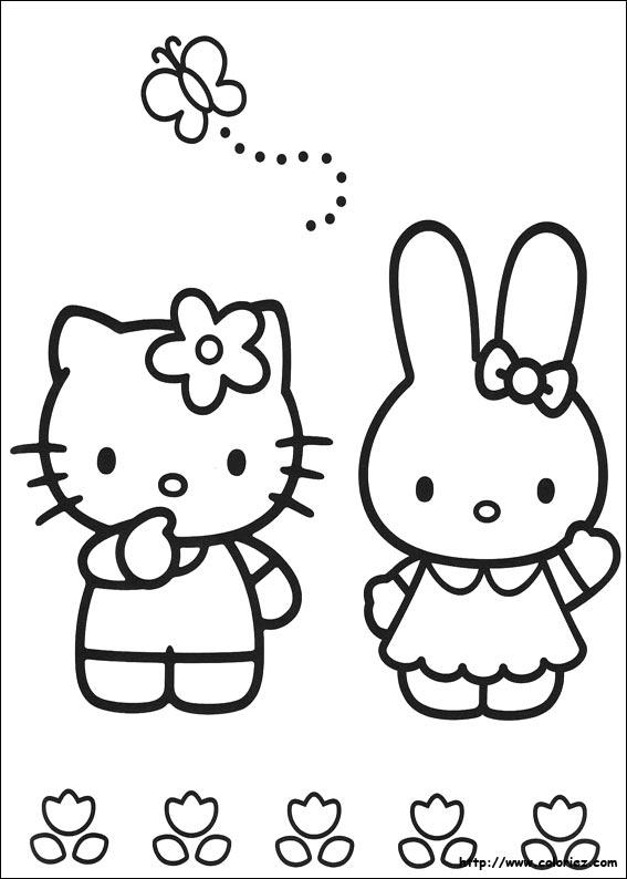 Coloriage kitty et kathy - Coloriage hellokitty ...
