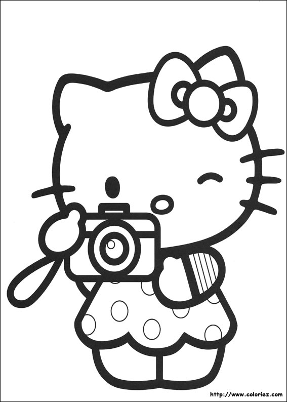 Coloriage kitty photographe - Coloriage hello kitty a colorier ...