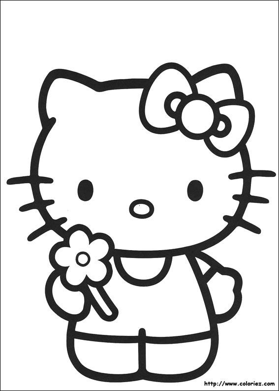 Coloriage kitty et sa fleur - Coloriage hello kitty fleurs ...