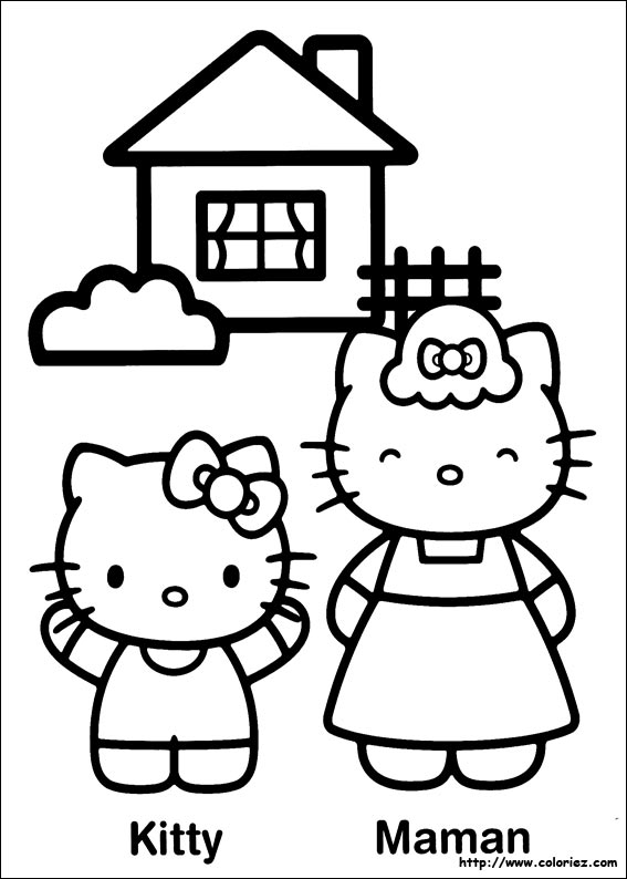 Coloriage kitty et sa maman - Coloriage hello kitty et mimi ...
