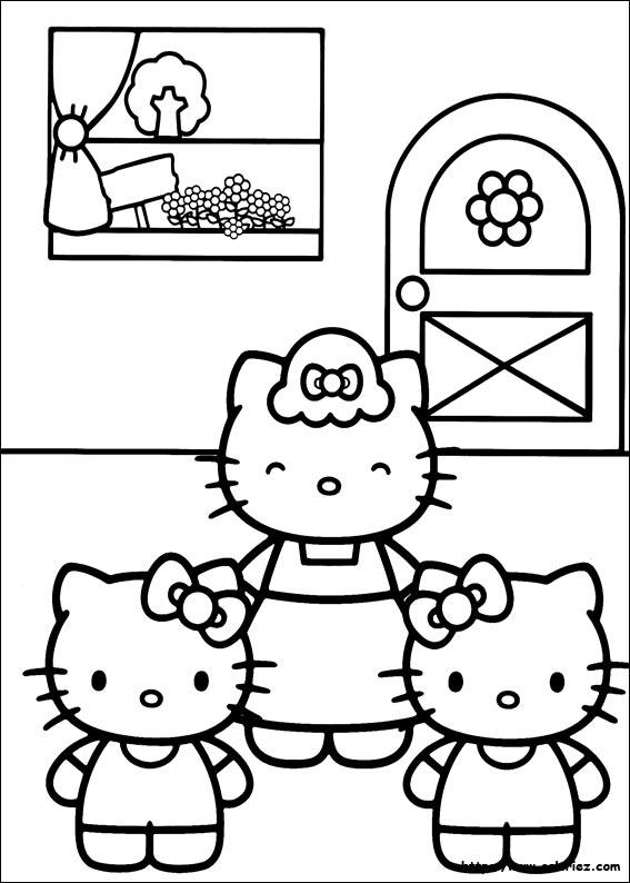 maman et ses deux petites filles - Coloriage Fille
