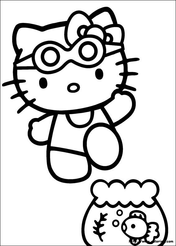 Poisson rouge dessin a colorier - Coloriage hello kitty ...
